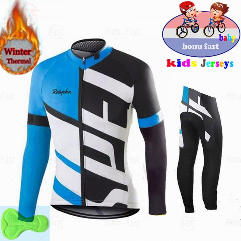 2020 Kids Winter Thermal Fleece Cycling Jersey Set Boys Jersey Suit Sport Riding Bike MTB Children Cycling Clothing Long Pant